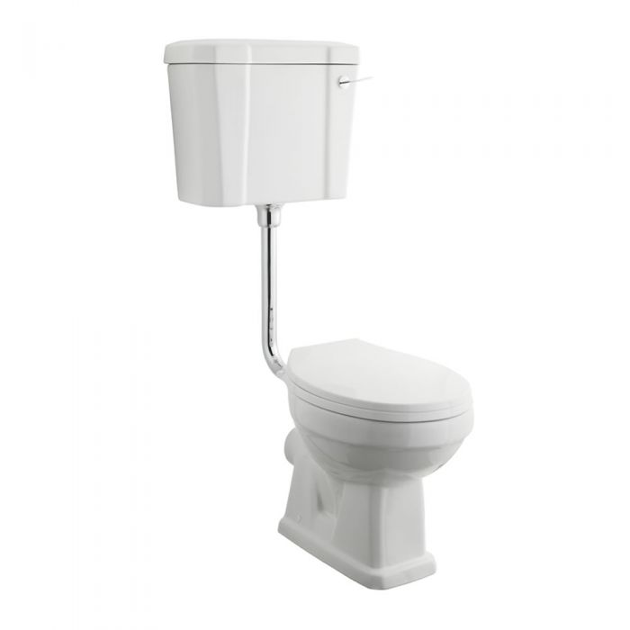 Milano - White Traditional Round Floor Standing Toilet Pan with Low Level Cistern and Wooden Seat - 410mm x 360mm