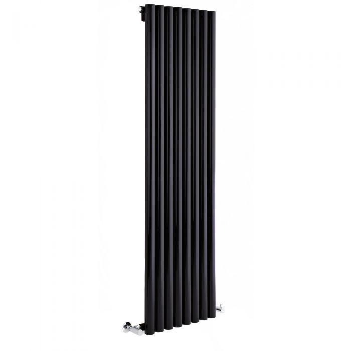 Milano Java - High-Gloss Black Vertical Round Tube Designer Radiator 1600mm x 354mm