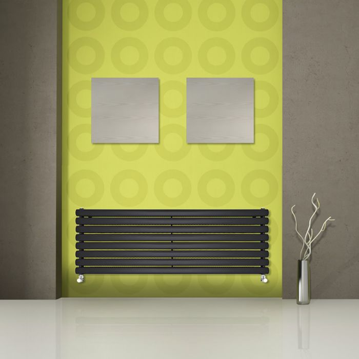 Milano Aruba - Black Horizontal Designer Radiator - 472mm x 1780mm (Double Panel)
