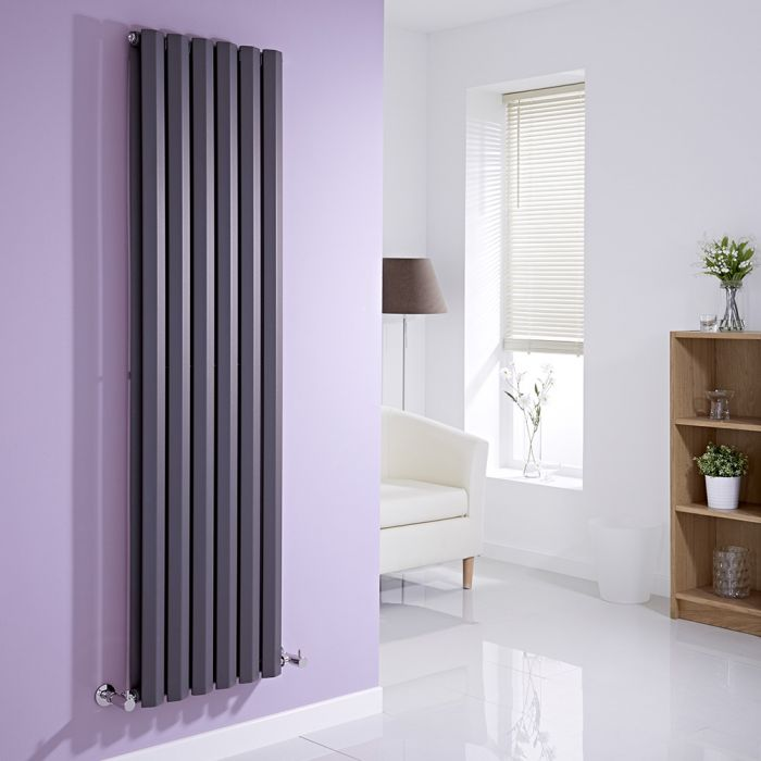 Milano Viti - Anthracite Vertical Diamond Double Panel Designer Radiator 1600mm x 420mm