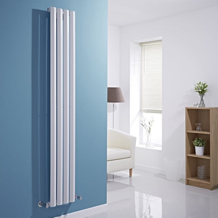 Milano Viti - White Vertical Diamond Panel Designer Radiator - 1780mm x 280mm