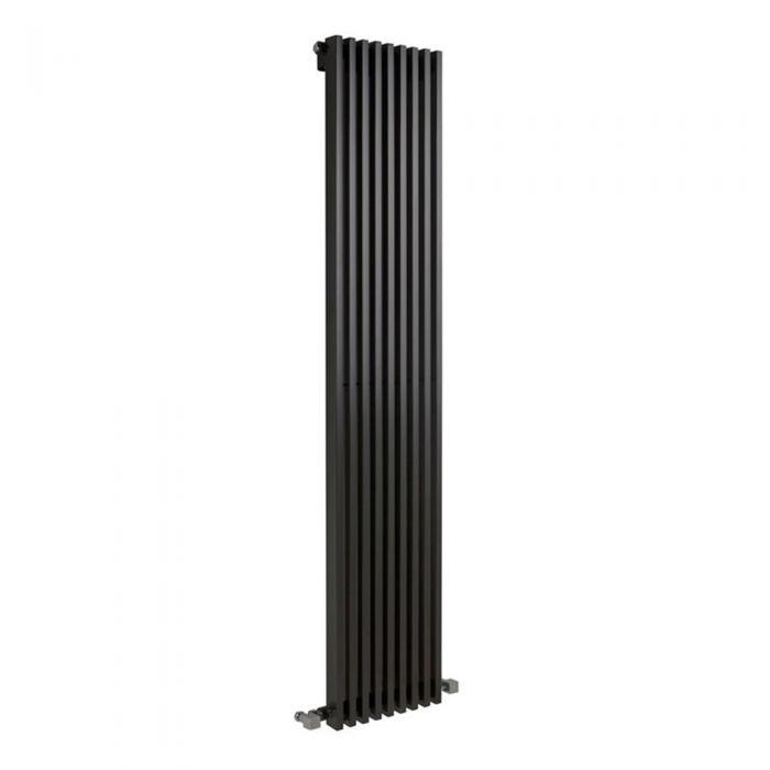 Milano Cayos - Luxury High-Gloss Black Vertical Designer Radiator Sideways Panels 1780mm x 342mm