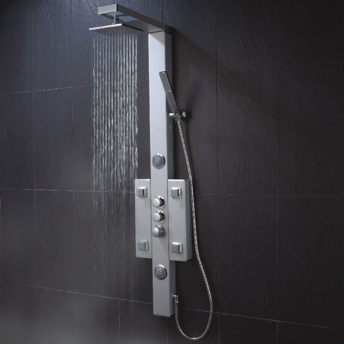 Milano Thermostatic Shower Column Tower Panel with 6 Body Jets