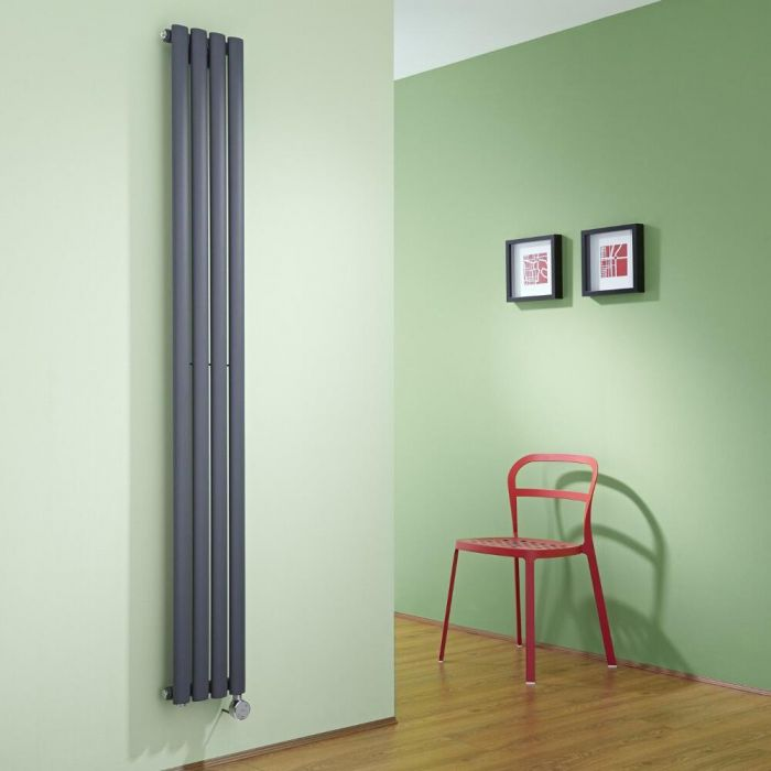 Milano Aruba Slim - Anthracite Space-Saving Vertical Electric Designer Radiator 1780mm x 236mm