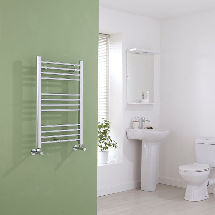 Milano Eco - Chrome Flat Heated Towel Rail - 800mm x 500mm