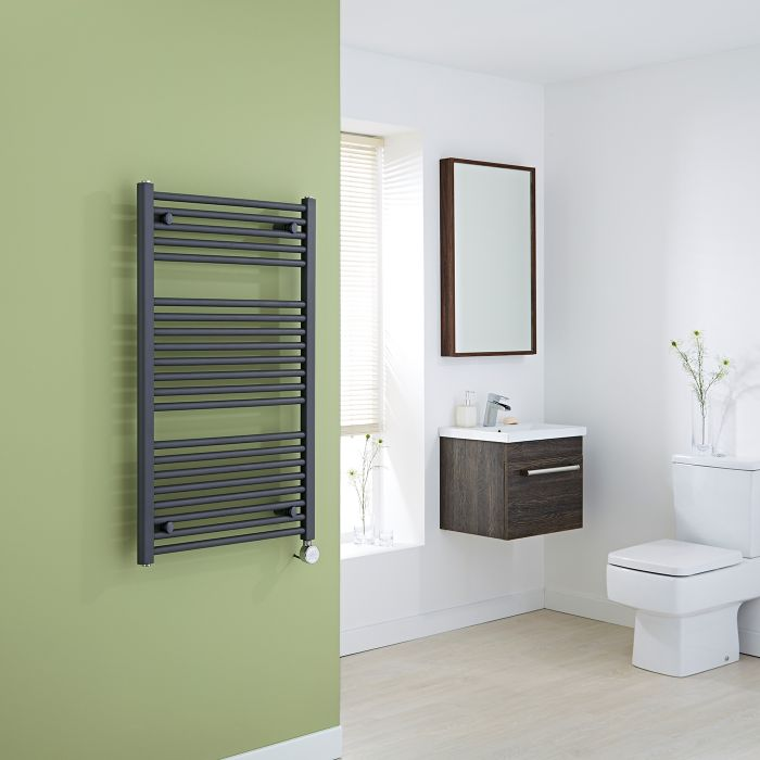 Milano Brook Electric - Anthracite Flat Heated Towel Rail 1000mm x 600mm