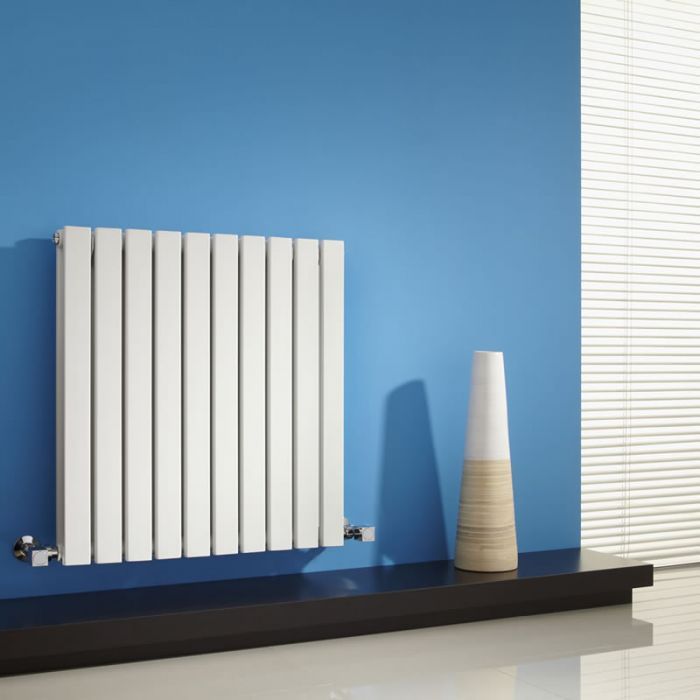 Milano Capri - White Flat Panel Horizontal Designer Radiator - 635mm x 600mm (Double Panel)