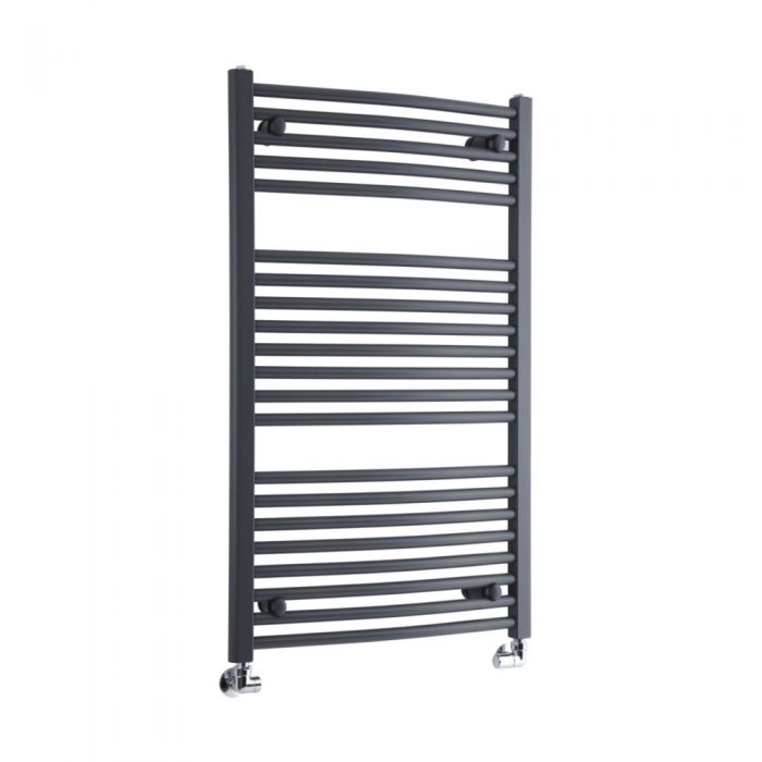 Milano Brook - Anthracite Curved Heated Bathroom Towel Radiator Rail 1000mm x 600mm
