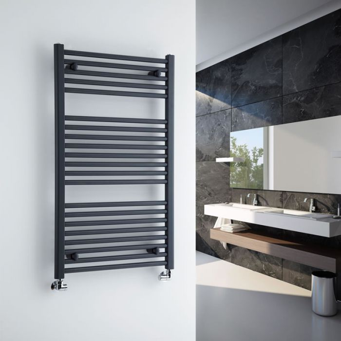 Milano Brook - Anthracite Flat Heated Bathroom Towel Radiator Rail 1000mm x 600mm