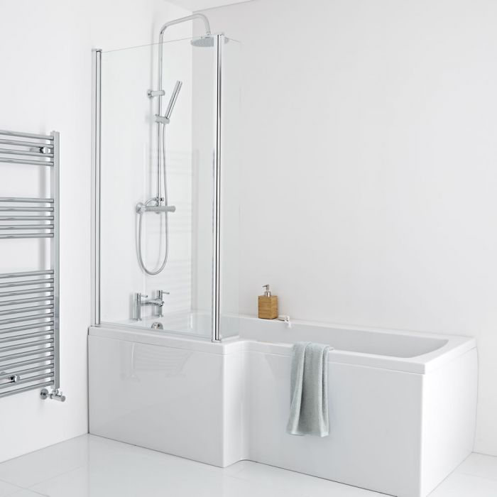 Milano - 1700 x 850mm Square Shower Bath with Panels and Screen - Left Hand