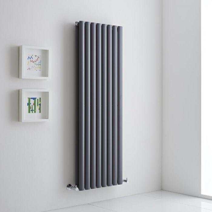 Milano Aruba Aiko - Anthracite Vertical Designer Radiator - 1400mm x 472mm (Double Panel)