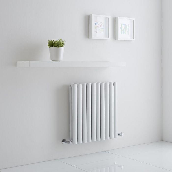 Milano Aruba Aiko - White Horizontal Designer Radiator - 600mm x 595mm (Double Panel)