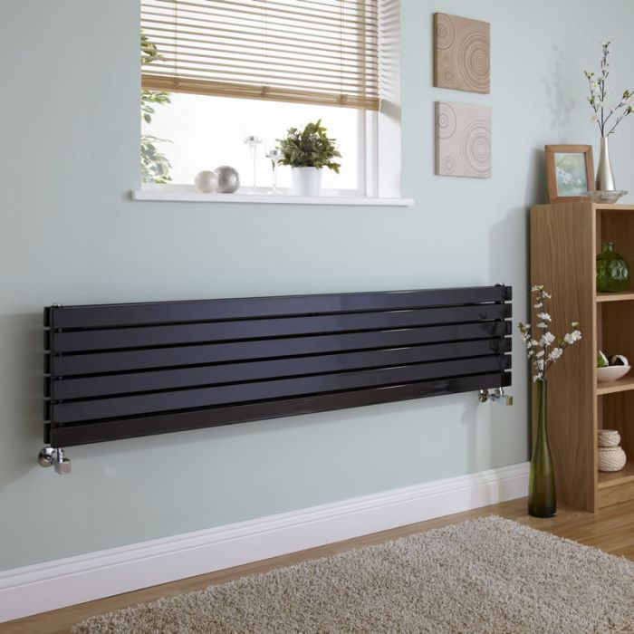Milano Capri - Black Flat Panel Horizontal Designer Radiator - 354mm x 1600mm (Double Panel)