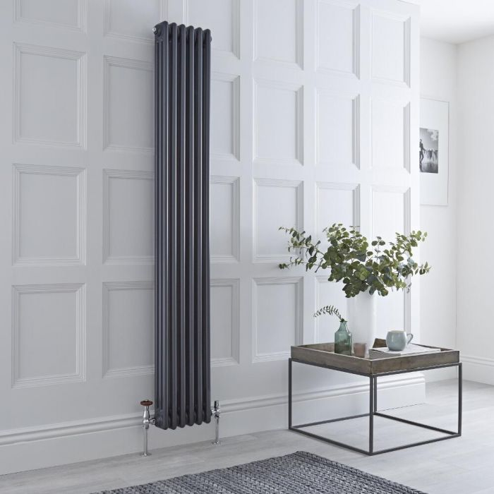 Milano Windsor - 3 Column Radiator - Anthracite 1800mm x 293mm