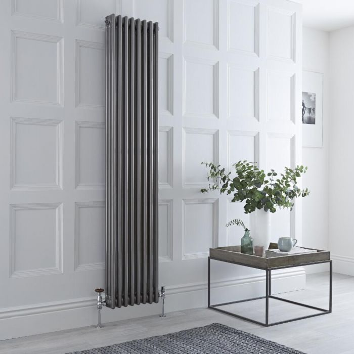 Milano Windsor - Traditional Lacqured Raw Metal Vertical Column Radiator - 1800mm x 383mm (Triple Column)
