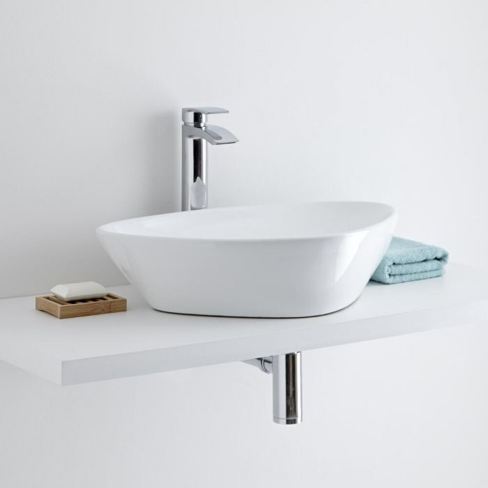Milano Select Rounded Countertop Basin with Razor High Rise Basin Mixer Tap