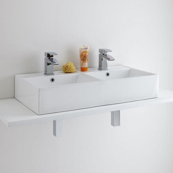 Milano Dalton Double Countertop Basin with 2 Wick Mono Basin Mixer Taps