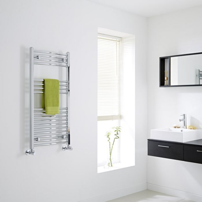 Milano Ribble - Chrome Curved Heated Towel Rail - 1000mm x 500mm