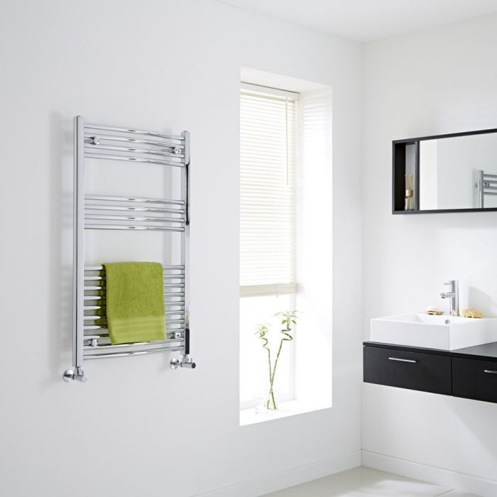 Milano Curved Chrome Heated Towel Rail 1000mm x 600mm