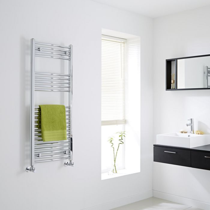 Milano Curved Chrome Heated Towel Rail 1200mm x 500mm