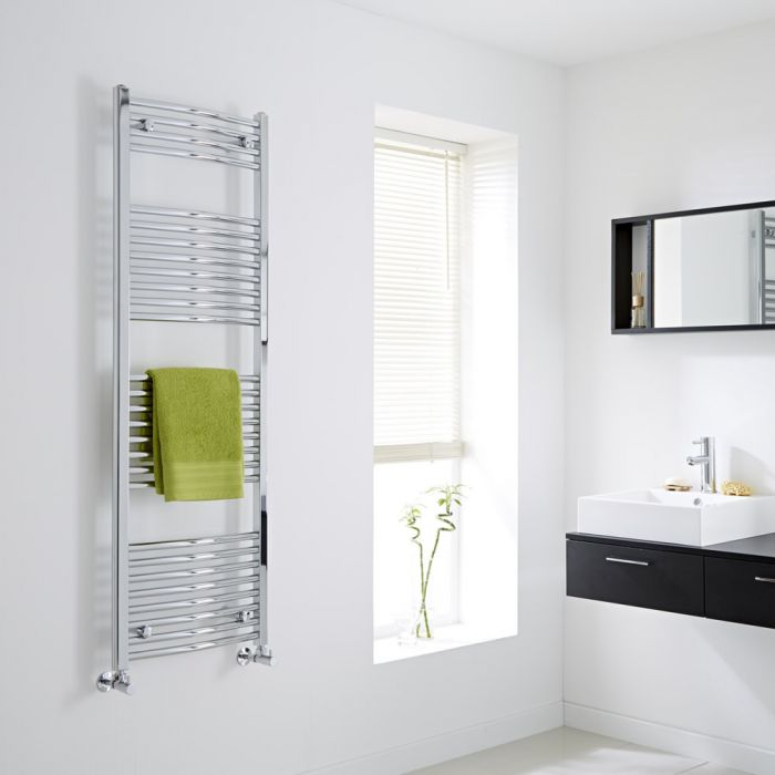 Milano - Chrome Curved Heated Towel Rail - 1500mm x 500mm