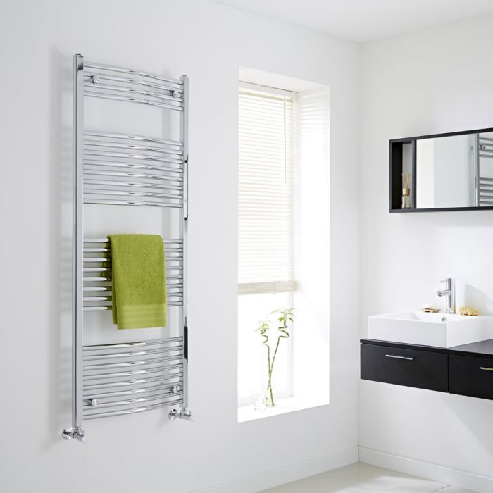 Milano - Curved Chrome Heated Towel Rail - 1500mm x 600mm