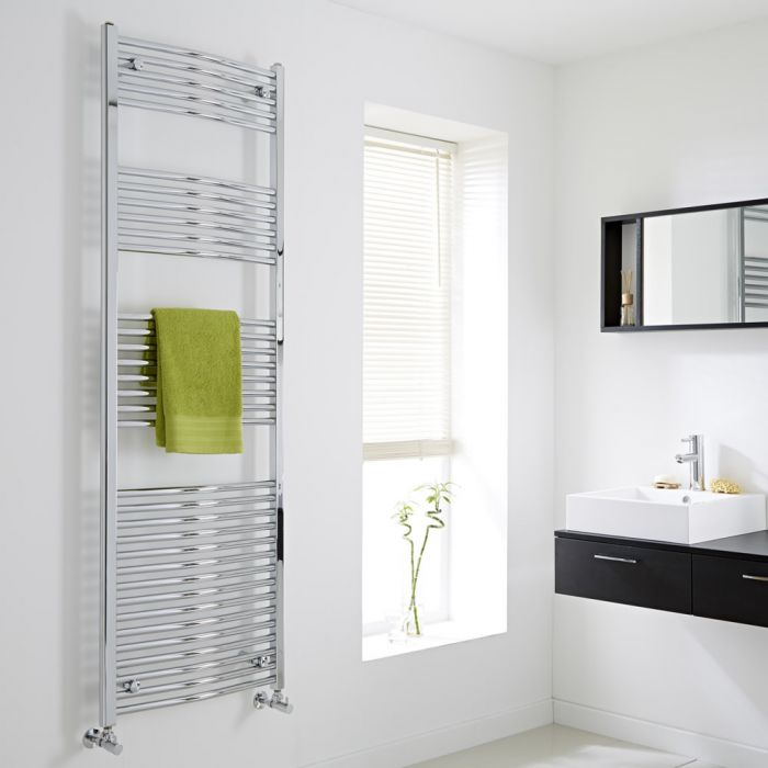 Milano - Curved Chrome Heated Towel Rail - 1800mm x 600mm