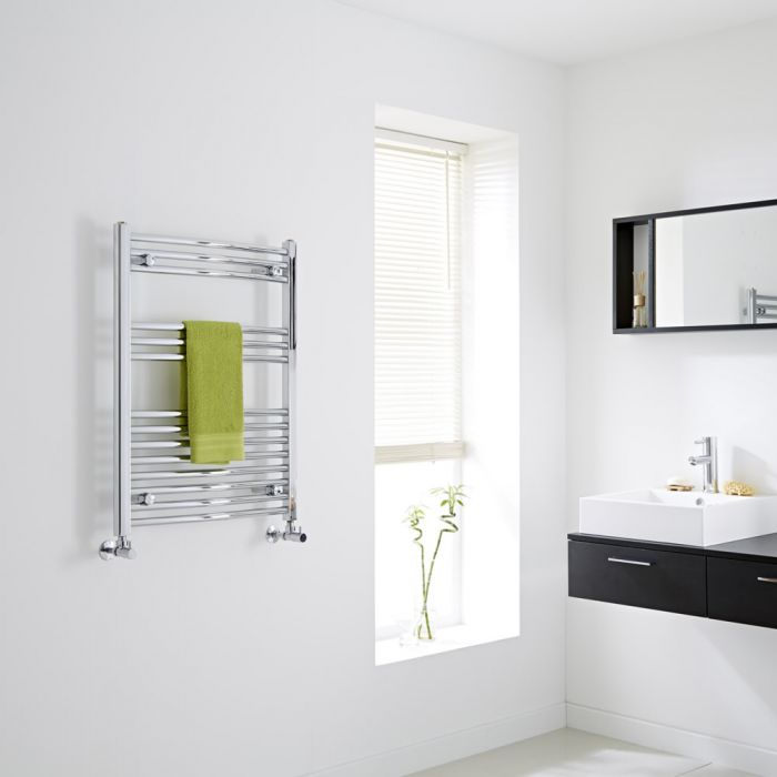 Milano - Chrome Curved Heated Towel Rail - 800mm x 600mm