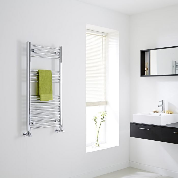 Milano Flat Chrome Heated Towel Rail 1000mm x 500mm