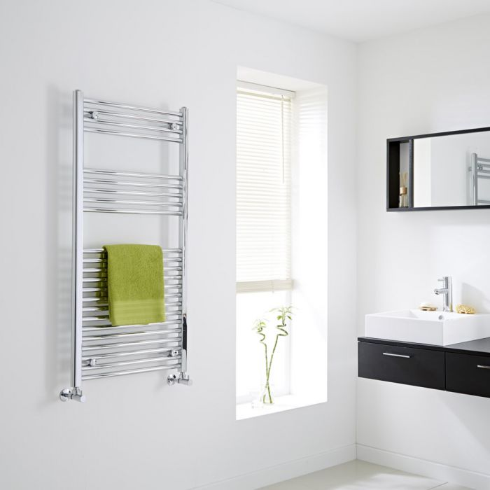 Milano Ribble - Chrome Flat Heated Towel Rail - 1200mm x 600mm