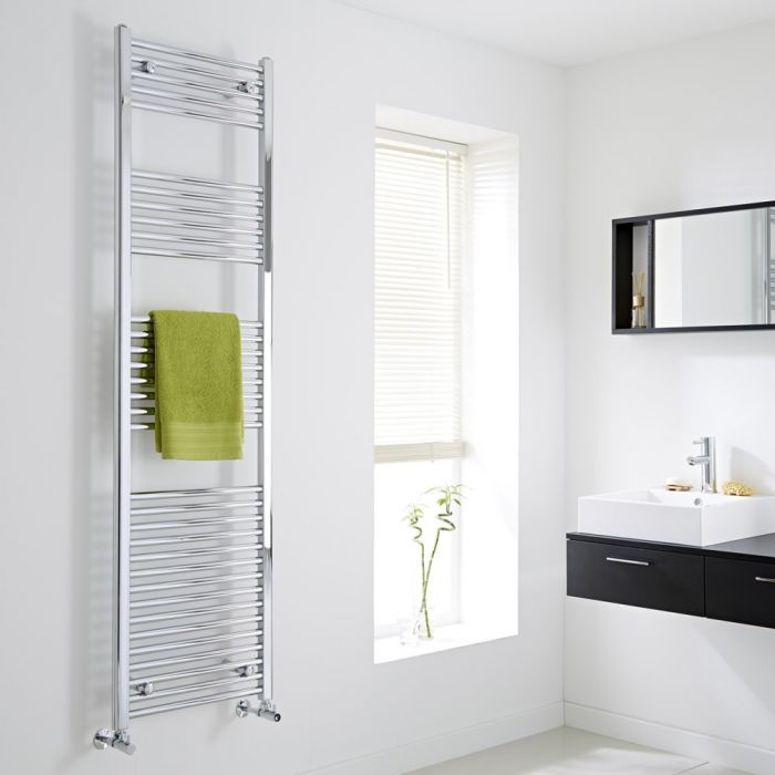 Milano Flat Chrome Heated Towel Rail 1800mm x 500mm