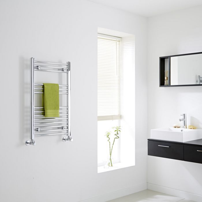 Milano Ribble - Chrome Flat Heated Towel Rail - 800mm x 500mm
