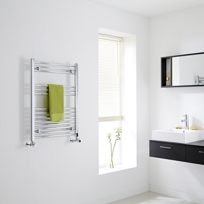 Milano - Chrome Flat Heated Towel Rail - 800mm x 600mm