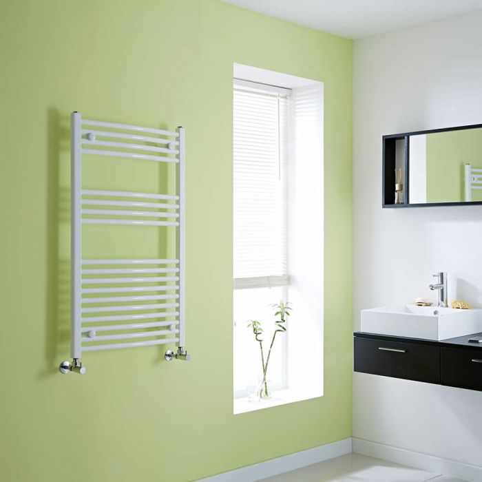 Milano Calder - Curved White Heated Towel Rail - 1000mm x 600mm