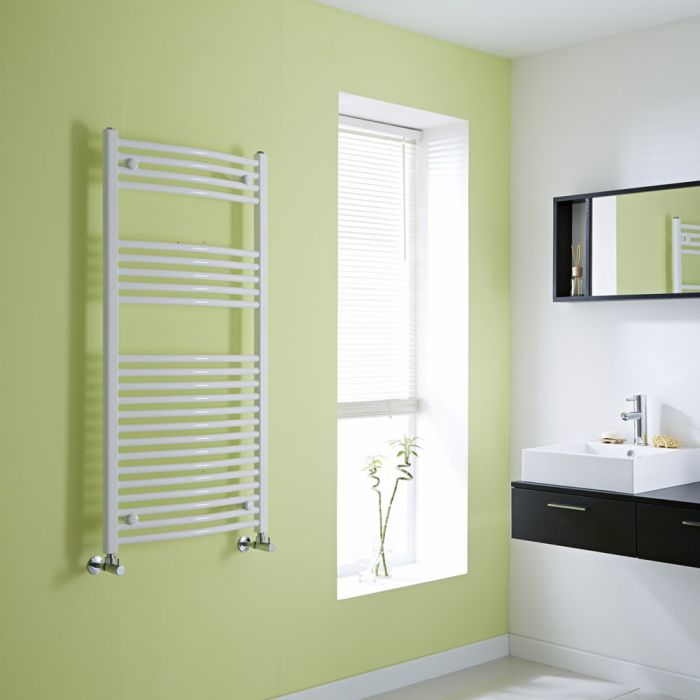 Milano Calder - White Curved Heated Towel Rail - 1200mm x 600mm