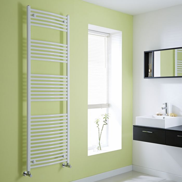 Milano Calder - White Curved Heated Towel Rail - 1800mm x 600mm