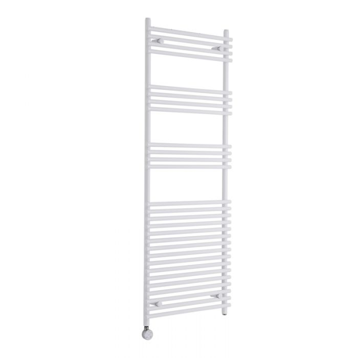 Kudox Electric - White Flat Bar on Bar Heated Towel Rail - 1650mm x 600mm