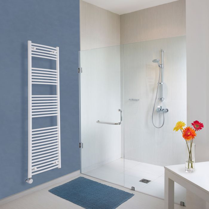 Milano Calder Electric - White Curved Heated Towel Rail - 1800mm x 500mm