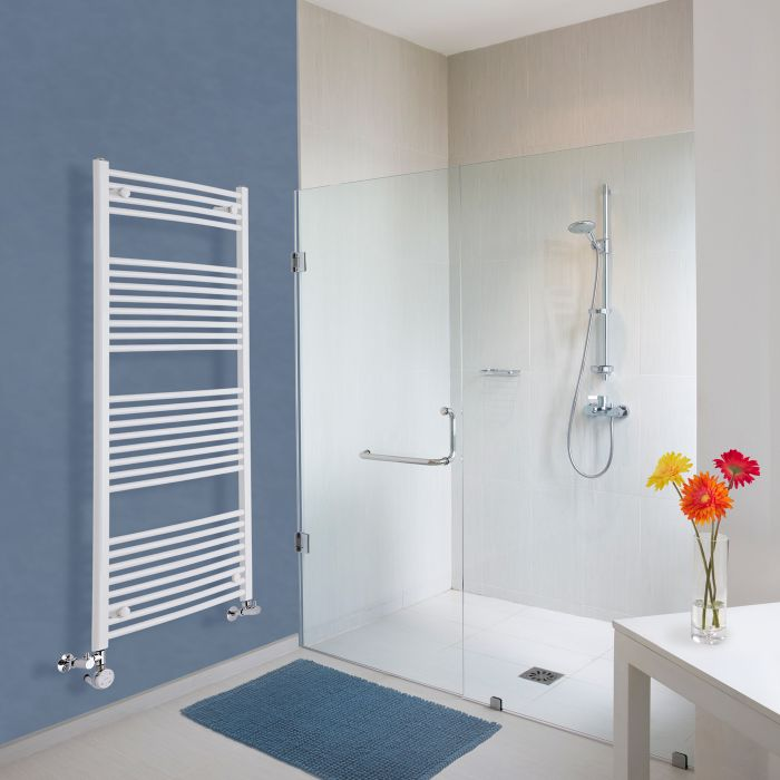 Milano Calder Electric - Curved White Heated Towel Rail - 1500mm x 600mm
