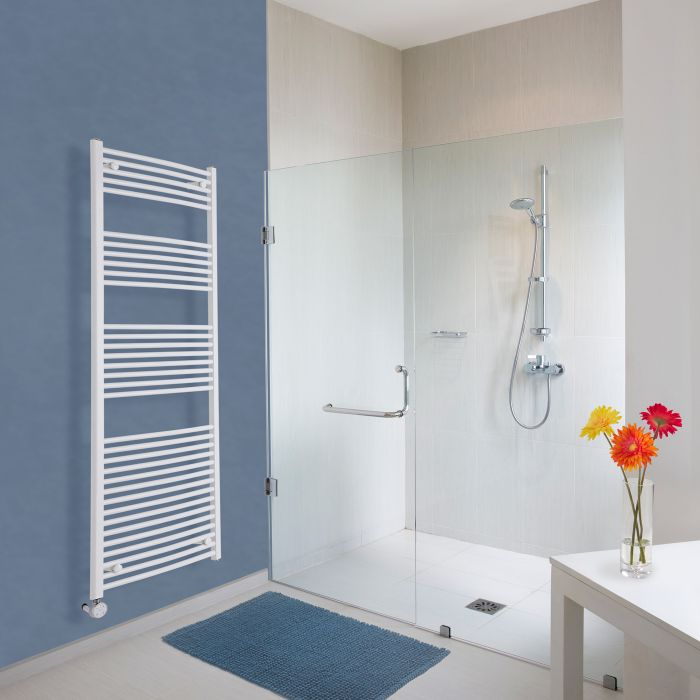 Milano Calder Electric - White Curved Heated Towel Rail - 1800mm x 600mm