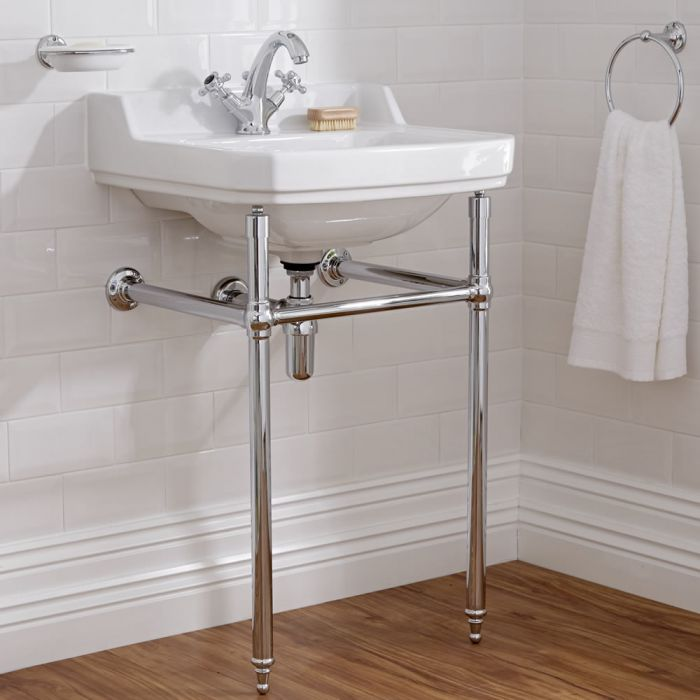 Milano Carlton - White Traditional Square Basin and Washstand - 500mm x 350mm (1 Tap-Hole)