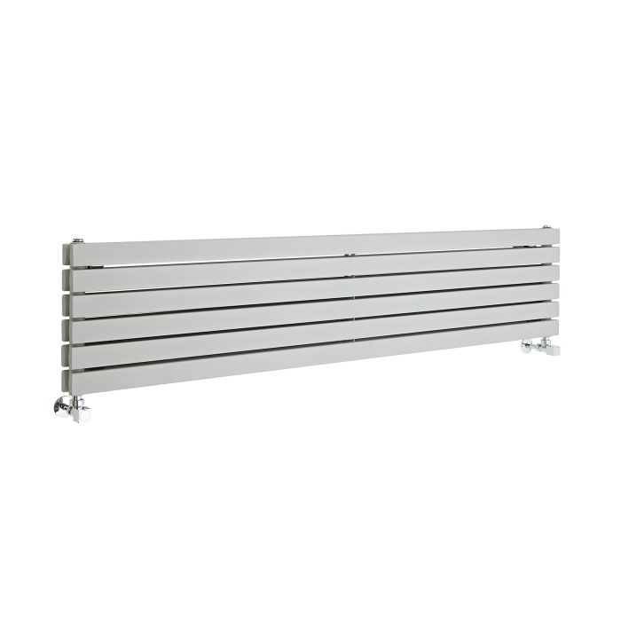 Milano Capri - Silver Horizontal Designer Radiator - 1600mm x 354mm (Double Panel)