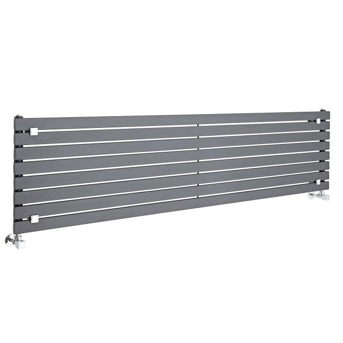Milano Capri - Anthracite Flat Panel Horizontal Designer Radiator - 472mm x 1780mm