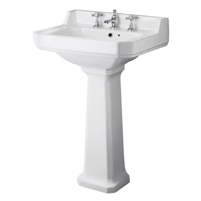 Milano Ambience 560mm Basin 3TH and Full Pedestal