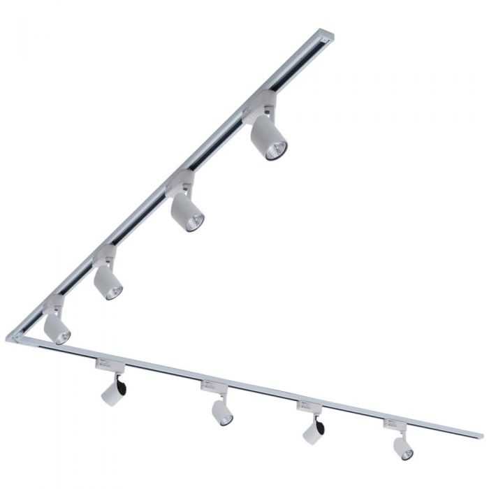 Biard LED 8 x 7W Lights 4m L Shaped Track Light Kit - White
