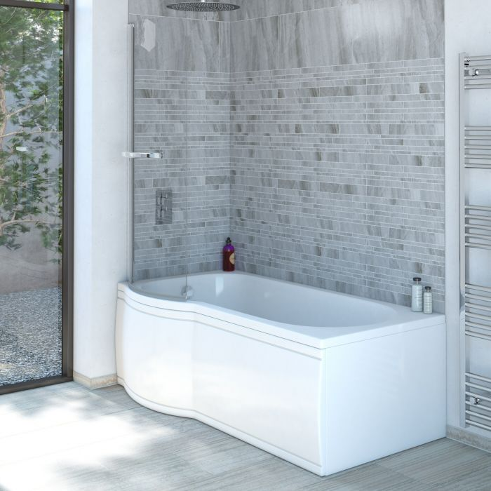 Milano Concept - 1500 x 800mm P Shape Shower Bath with Panels - Left Hand