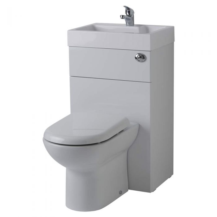 Milano Linton - White Modern Linton Toilet and Basin Unit Combination - 502mm x 890mm (1 Tap-Hole)
