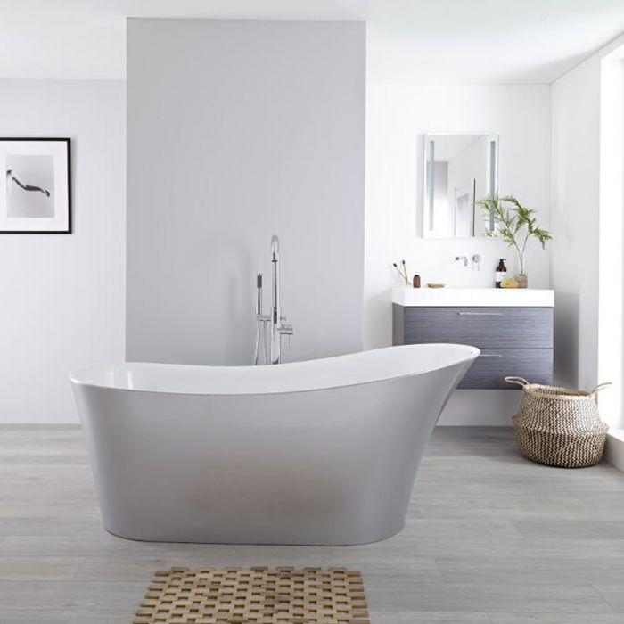 Milano Select Freestanding Slipper Bath - Silver