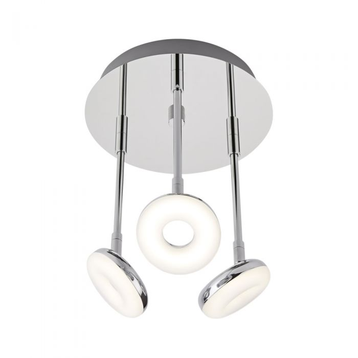 Biard Ciambella Three LED Chrome Bathroom Ceiling Light