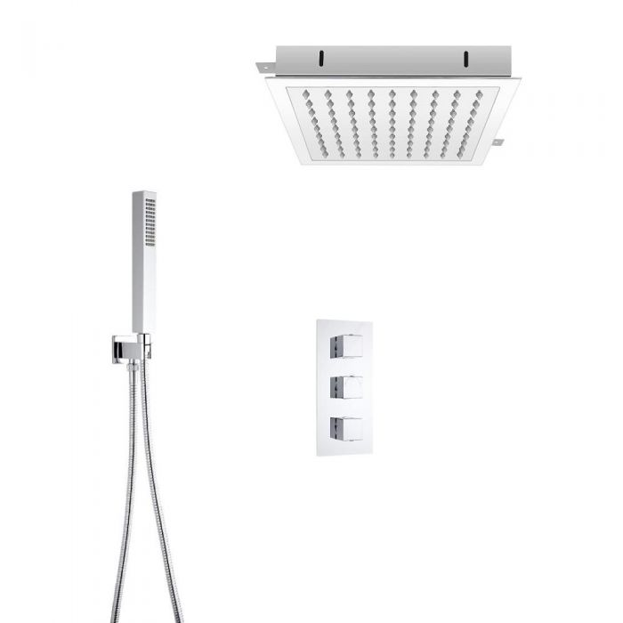 Milano Square Triple Thermostatic Valve With 280mm Recessed Head and Hand Shower